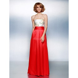 Prom Formal Evening Dress Multi Color Plus Sizes Petite Sheath Column Strapless Floor Length Satin