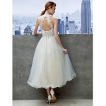 Cocktail Party / Company Party Dress - Sky Blue A-line Jewel Tea-length Lace Special Occasion Dresses