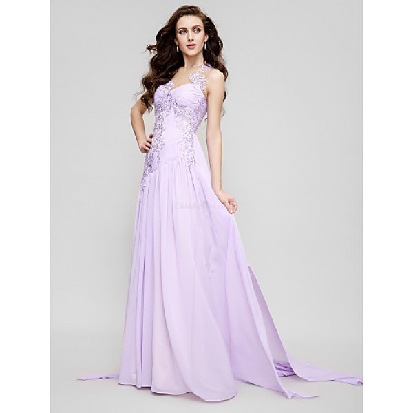TS Couture Formal Evening Dress - Lavender A-line Jewel Court Train Chiffon / Tulle Special Occasion Dresses