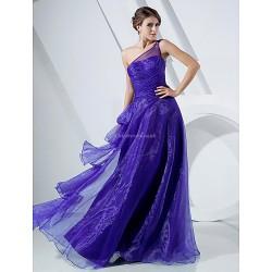 Formal Evening Prom Military Ball Dress Regency Plus Sizes Petite A Line Princess One Shoulder Floor Length Organza