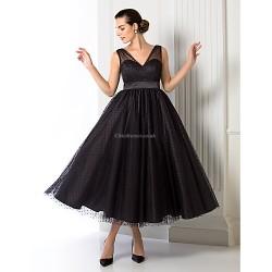 Formal Evening Dress Black Plus Sizes Petite A Line Princess V Neck Tea Length Tulle