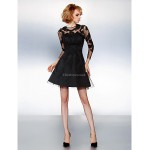 TS Couture Cocktail Party Dress - Black Plus Sizes / Petite A-line Jewel Short/Mini Tulle Special Occasion Dresses