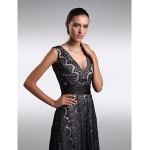 Formal Evening Dress - Black Plus Sizes / Petite Sheath/Column V-neck Ankle-length Lace Special Occasion Dresses