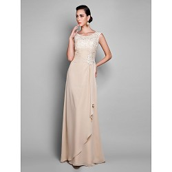 Formal Evening Prom Military Ball Dress Champagne Plus Sizes Petite Sheath Column Jewel Floor Length Chiffon