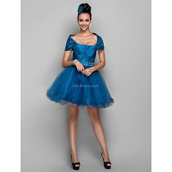 Cocktail Party Prom Holiday Dress Ink Blue Plus Sizes Petite A Line Off The Shoulder Short Mini Taffeta Tulle