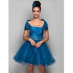 Cocktail Party / Prom / Holiday Dress - Ink Blue Plus Sizes / Petite A-line Off-the-shoulder Short/Mini Taffeta / Tulle Special Occasion Dresses