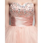 Cocktail Party Dress - Pearl Pink Plus Sizes / Petite Ball Gown Sweetheart Short/Mini Tulle Special Occasion Dresses