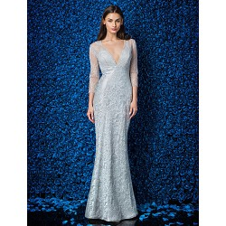 Formal Evening Prom Military Ball Dress Silver Plus Sizes Petite Trumpet Mermaid V Neck Ankle Length Lace Tulle Stretch Satin