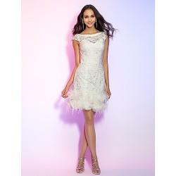Cocktail Party Holiday Graduation Dress Ivory Plus Sizes Petite Sheath Column Bateau Short Mini Lace
