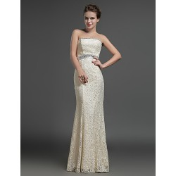 Formal Evening Dress Champagne Sheath Column Strapless Floor Length Lace