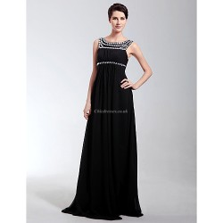 Formal Evening Military Ball Dress Black Plus Sizes Petite Sheath Column Scoop Floor Length Chiffon
