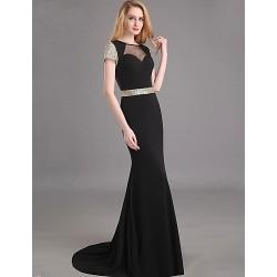 Formal Evening Dress Black Plus Sizes Petite Trumpet Mermaid Jewel Sweep Brush Train Chiffon