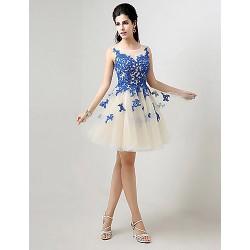 Cocktail Party Dress - Royal Blue Plus Sizes / Petite A-line Bateau Knee-length