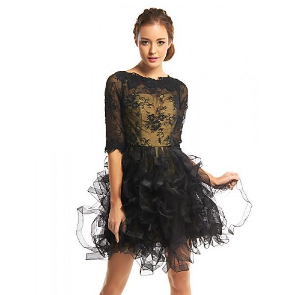TS Couture Cocktail Party Dress - Black A-line Bateau Short/Mini Lace / Tulle Special Occasion Dresses