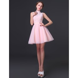 Cocktail Party Dress Blushing Pink A Line High Neck Short Mini Chiffon Lace