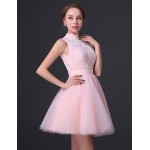 Cocktail Party Dress - Blushing Pink A-line High Neck Short/Mini Chiffon / Lace Special Occasion Dresses