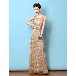 Formal Evening Dress Gold Sheath Column Scoop Floor Length Satin