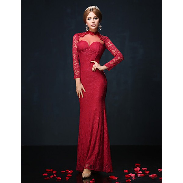 Formal Evening Dress - Burgundy / Royal Blue / Black Petite Trumpet/Mermaid High Neck Floor-length Lace / Charmeuse Special Occasion Dresses