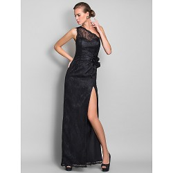 Formal Evening Prom Military Ball Dress Black Plus Sizes Petite Sheath Column One Shoulder Floor Length Lace