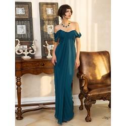 Formal Evening Military Ball Dress Ink Blue Plus Sizes Petite Sheath Column Sweetheart Floor Length Georgette