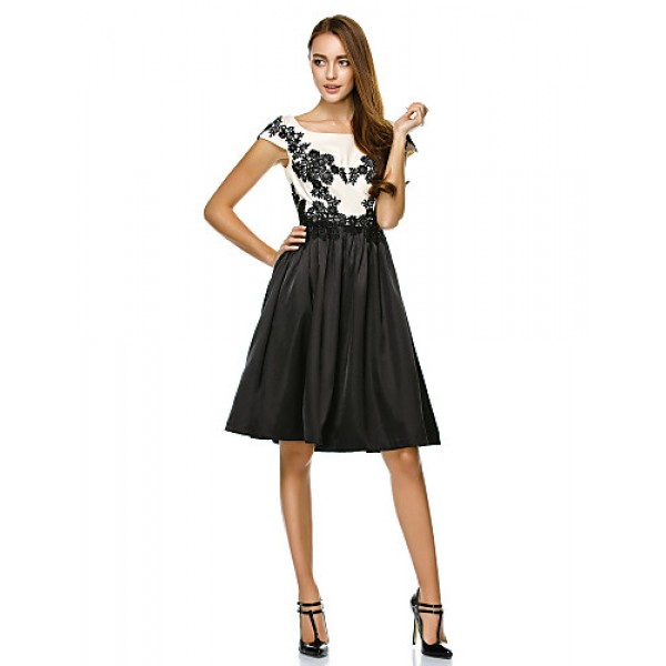 TS Couture Cocktail Party Dress - Multi-color A-line Scoop Knee-length Satin Special Occasion Dresses