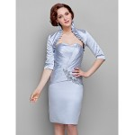 Sheath/Column Plus Sizes / Petite Mother of the Bride Dress - Silver Knee-length Half Sleeve Satin Mother Of The Bride Dresses