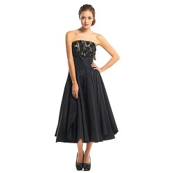 Cocktail Party Dress Black A Line Strapless Tea Length Lace Taffeta
