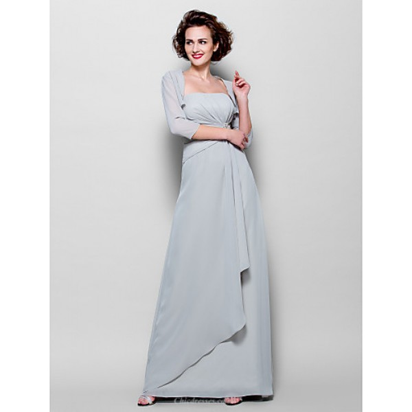 Sheath/Column Plus Sizes / Petite Mother of the Bride Dress - Silver Floor-length 3/4 Length Sleeve Chiffon Mother Of The Bride Dresses