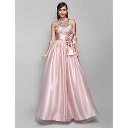 Formal Evening Prom Military Ball Dress Pearl Pink Plus Sizes Petite A Line Jewel Floor Length Stretch Satin Tulle