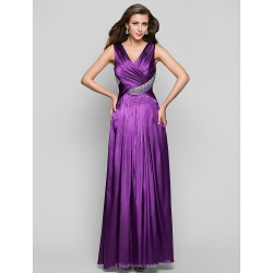 Prom Military Ball Formal Evening Dress Grape Plus Sizes Petite A Line V Neck Floor Length Charmeuse