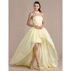 Formal Evening Dress - Daffodil Plus Sizes / Petite Sheath/Column High Neck Asymmetrical Chiffon / Tulle