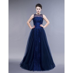 Dress Dark Navy Plus Sizes Petite A Line Sheath Column Jewel Floor Length Lace Tulle