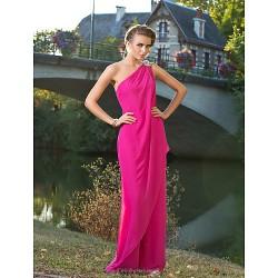 Formal Evening / Wedding Party Dress - Fuchsia Plus Sizes / Petite One Shoulder Floor-length Chiffon
