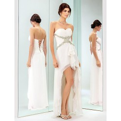 Cocktail Party Holiday Dress Ivory Plus Sizes Petite Sheath Column Sweetheart Asymmetrical Chiffon