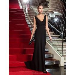 Formal Evening Military Ball Dress Black Plus Sizes Petite Sheath Column V Neck Sweep Brush Train Jersey