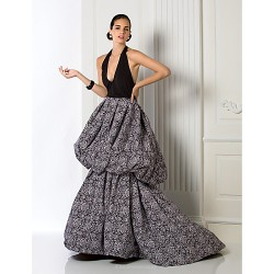 Formal Evening Dress Multi Color Plus Sizes Petite A Line Halter Court Train Chiffon Jersey