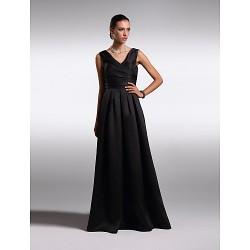 Formal Evening Dress Black Plus Sizes Petite A Line V Neck Floor Length Satin