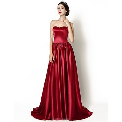 Formal Evening Dress Burgundy A Line Sweetheart Court Train Stretch Satin