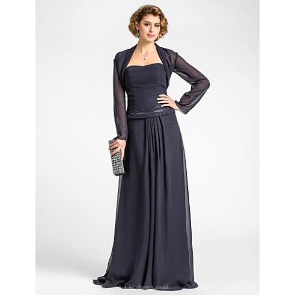 A-line Plus Sizes / Petite Mother of the Bride Dress - Dark Navy Floor-length Long Sleeve Chiffon Mother Of The Bride Dresses