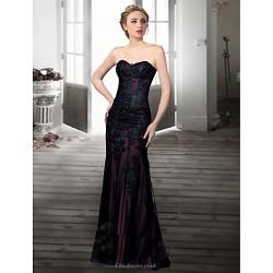 Formal Evening Dress Black Ivory Plus Sizes Petite Trumpet Mermaid Sweetheart Floor Length Lace