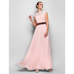 Formal Evening Prom Military Ball Dress Pearl Pink Plus Sizes Petite A Line Jewel Floor Length Georgette