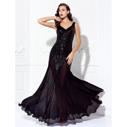 Dress Black Plus Sizes Petite A Line V Neck Floor Length Chiffon Sequined