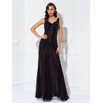 TS Couture Dress - Black Plus Sizes / Petite A-line V-neck Floor-length Chiffon / Sequined Special Occasion Dresses