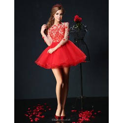 Cocktail Party Dress Ruby Petite Ball Gown Jewel Short Mini Tulle