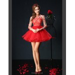 Cocktail Party Dress - Ruby Petite Ball Gown Jewel Short/Mini Tulle Special Occasion Dresses
