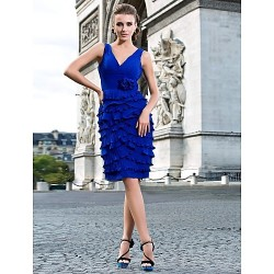 Cocktail Party Dress Royal Blue Plus Sizes Petite Sheath Column V Neck Knee Length Chiffon