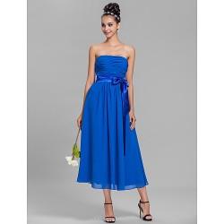 Tea Length Chiffon Bridesmaid Dress Royal Blue Plus Sizes Petite A Line Strapless
