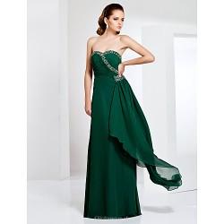 Formal Evening / Military Ball Dress - Dark Green Plus Sizes / Petite Sheath/Column Sweetheart / Strapless Floor-length Chiffon