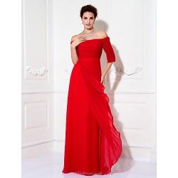 Formal Evening / Prom / Military Ball Dress - Ruby Plus Sizes / Petite Sheath/Column Off-the-shoulder Floor-length Chiffon