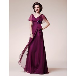 A-line Plus Sizes / Petite Mother of the Bride Dress - Grape Floor-length Short Sleeve Chiffon